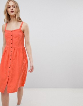 photo Sersa Seersucker Button Down Midi Dress by Blend She, color Emberglow - Image 1