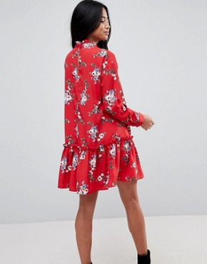 photo Smock Mini Dress with Pep Hem in Red Floral by ASOS DESIGN Petite, color Multi - Image 2