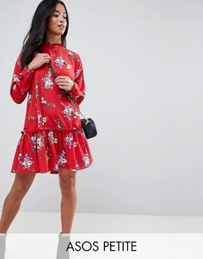 photo Smock Mini Dress with Pep Hem in Red Floral by ASOS DESIGN Petite, color Multi - Image 1