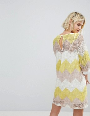 photo Shift Dress in Colourblock Lace by Suncoo, color Juane - Image 2