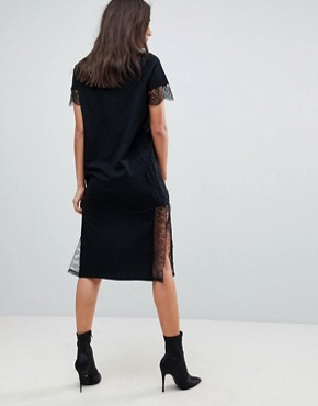 photo Midi T-Shirt Dress with Lace Insert by ASOS TALL, color Black - Image 2