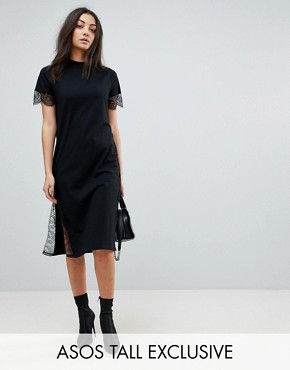 photo Midi T-Shirt Dress with Lace Insert by ASOS TALL, color Black - Image 1