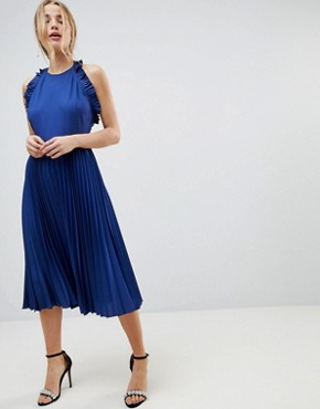 photo Pleated Midi Dress with Ruffle Open Back by ASOS, color Blue - Image 1