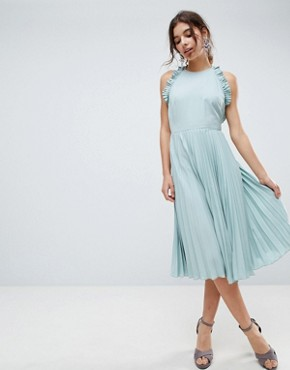 photo Pleated Midi Dress with Ruffle Open Back by ASOS, color Mint Green - Image 2