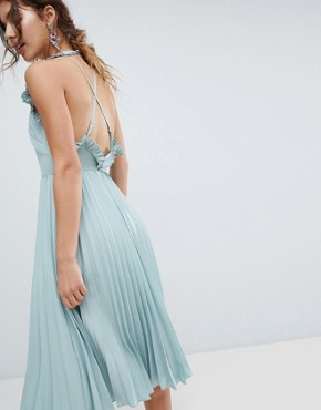photo Pleated Midi Dress with Ruffle Open Back by ASOS, color Mint Green - Image 1