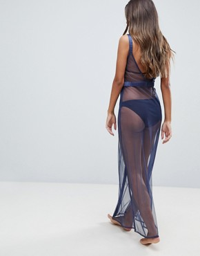 photo Satin Mesh Insert Maxi Beach Dress by ASOS, color Navy - Image 2