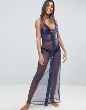 photo Satin Mesh Insert Maxi Beach Dress by ASOS, color Navy - Image 1