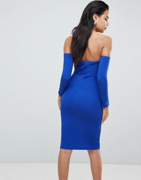 photo V-Bar Bardot Textured Midi Dress by ASOS, color Cobalt - Image 2
