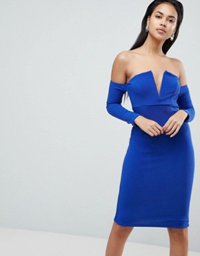 photo V-Bar Bardot Textured Midi Dress by ASOS, color Cobalt - Image 1