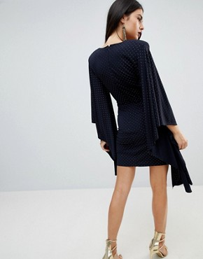 photo Deep Plunge Gold Studded Knot Front Mini Dress by ASOS, color Navy - Image 2