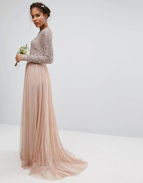 photo Long Sleeved Maxi Dress with Delicate Sequin and Tulle Skirt by Maya Tall, color Taupe Blush - Image 2