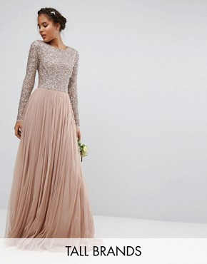 photo Long Sleeved Maxi Dress with Delicate Sequin and Tulle Skirt by Maya Tall, color Taupe Blush - Image 1