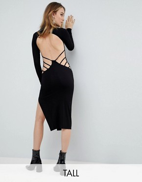 photo Strappy Open Back Midi Bodycon Dress by ASOS TALL, color Black - Image 1