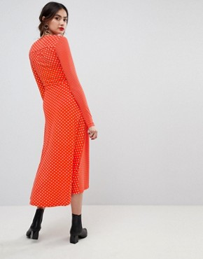 photo Midi Wrap Tea Dress with Long Sleeves in Polka Dot by ASOS TALL, color Multi - Image 2