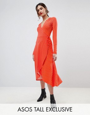 photo Midi Wrap Tea Dress with Long Sleeves in Polka Dot by ASOS TALL, color Multi - Image 1