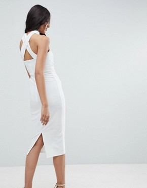 photo Ruched Bodice Cross Back Midi Bodycon Dress by ASOS TALL, color Cream - Image 2