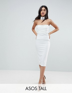 photo Ruched Bodice Cross Back Midi Bodycon Dress by ASOS TALL, color Cream - Image 1