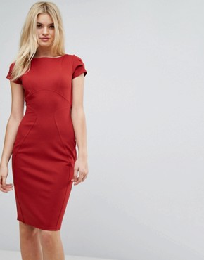 photo Pencil Dress with Ruched Cap Sleeve by Closet London, color Rust - Image 1