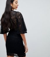 photo Cape Plunge Lace Mini Dress by ASOS TALL, color Black - Image 2