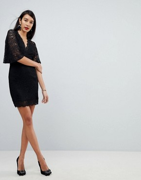 photo Cape Plunge Lace Mini Dress by ASOS TALL, color Black - Image 4
