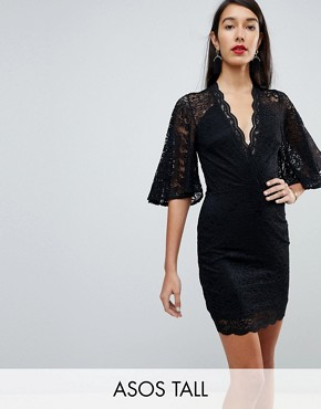 photo Cape Plunge Lace Mini Dress by ASOS TALL, color Black - Image 1