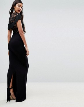 photo Lace Maxi Dress with Fringing by ASOS TALL, color Black - Image 2