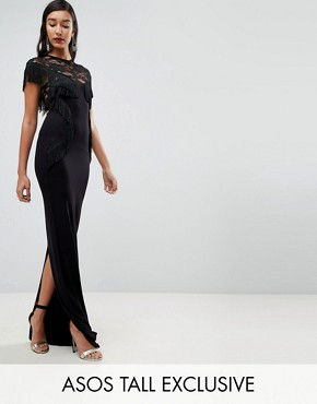 photo Lace Maxi Dress with Fringing by ASOS TALL, color Black - Image 1