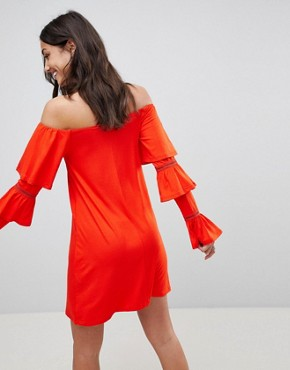 photo Off Shoulder Mini Sundress with Flamenco Sleeves by ASOS TALL, color Red - Image 2
