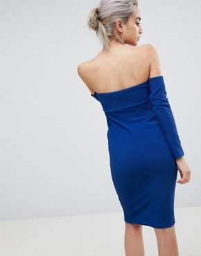 photo V-Bar Bardot Textured Midi Dress by ASOS PETITE, color Cobalt - Image 2