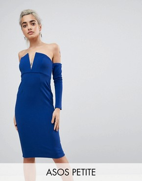 photo V-Bar Bardot Textured Midi Dress by ASOS PETITE, color Cobalt - Image 1