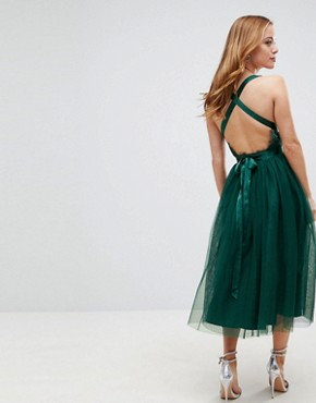 photo Lace Top Tulle Midi Prom Dress with Ribbon Ties by ASOS PETITE PREMIUM, color Green - Image 2