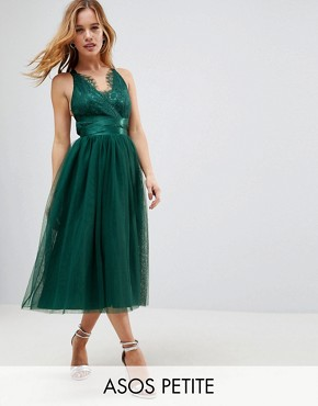 photo Lace Top Tulle Midi Prom Dress with Ribbon Ties by ASOS PETITE PREMIUM, color Green - Image 1