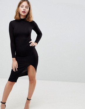 photo Strappy Open Back Midi Bodycon Dress by ASOS PETITE, color Black - Image 2