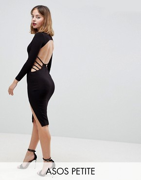 photo Strappy Open Back Midi Bodycon Dress by ASOS PETITE, color Black - Image 1