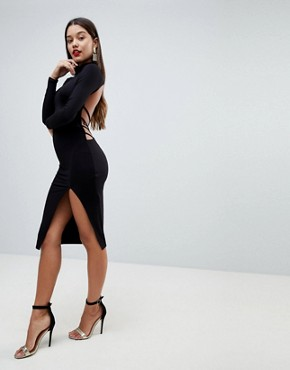 photo Strappy Open Back Midi Bodycon Dress by ASOS, color Black - Image 2