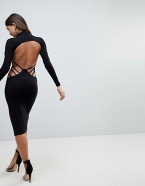 photo Strappy Open Back Midi Bodycon Dress by ASOS, color Black - Image 1