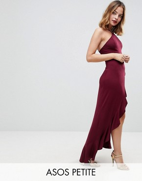 photo Ruffle Thigh Spilt High Neck Maxi Dress by ASOS PETITE, color Oxblood - Image 1