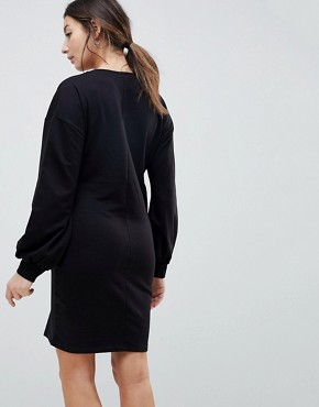 photo Sweat Dress with Woven Overlay by ASOS Maternity NURSING, color Black - Image 2