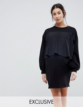 photo Sweat Dress with Woven Overlay by ASOS Maternity NURSING, color Black - Image 1