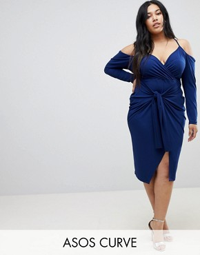 photo Slinky Wrap Cold Shoulder Midi Dress by ASOS CURVE, color Navy - Image 1