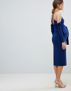 photo Slinky Wrap Cold Shoulder Midi Dress by ASOS Maternity, color Navy - Image 2