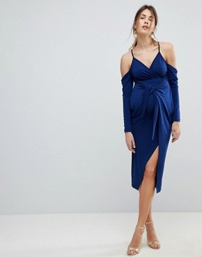 photo Slinky Wrap Cold Shoulder Midi Dress by ASOS Maternity, color Navy - Image 1