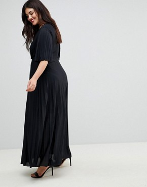 photo Kimono Pleated Maxi Dress by ASOS CURVE, color Black - Image 2