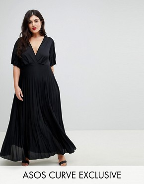 photo Kimono Pleated Maxi Dress by ASOS CURVE, color Black - Image 1
