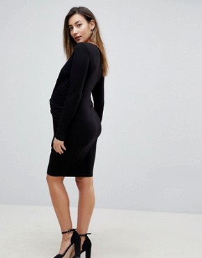 photo Wrap Bodycon Dress with Ruching by ASOS Maternity, color Black - Image 2