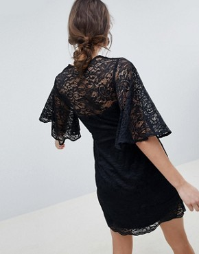 photo Maternity Cape Plunge Lace Mini Dress by ASOS DESIGN, color Black - Image 2