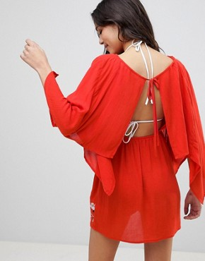 photo Split Back Embroidered Beach Dress by ASOS, color Red - Image 2