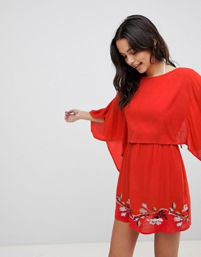 photo Split Back Embroidered Beach Dress by ASOS, color Red - Image 1