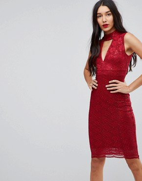 photo Choker Neck Bodycon Dress by Jessica Wright, color Red - Image 1