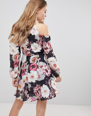 photo Cold Shoulder Floral Skater Dress by Jessica Wright, color Multi - Image 2